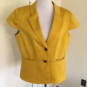 Tahari ASL Short Cap Sleeve Yellow Blazer Jacket
